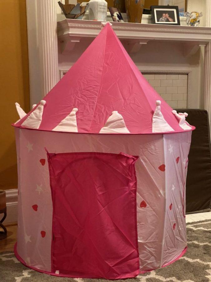 a pink castle tent