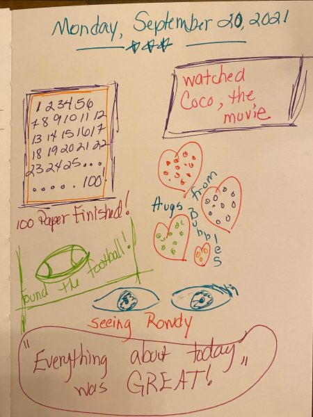 drawings of eyes, football, hearts, and words in a child's journal