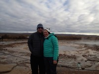 At Strokkur and the surrounding gysers