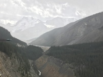 Looking toward Columbia Icefield in the rain
