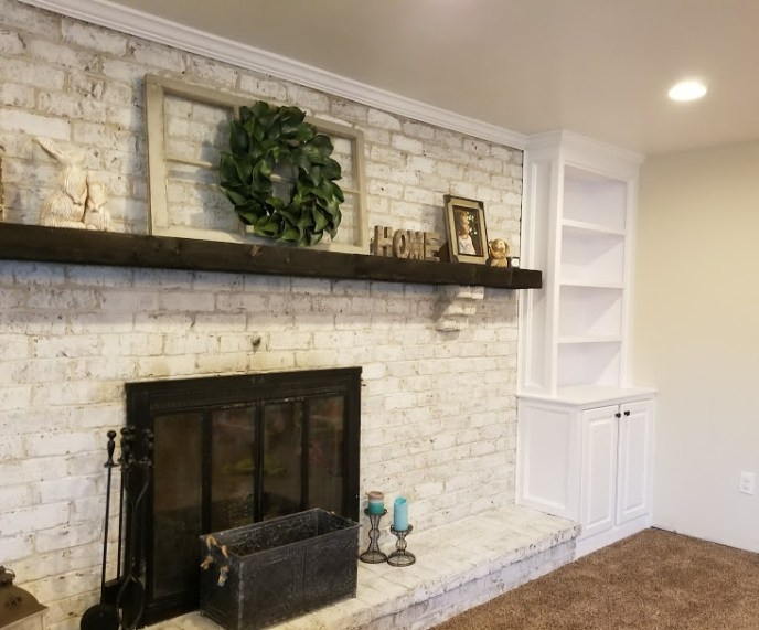 Custom fireplace bookshelves