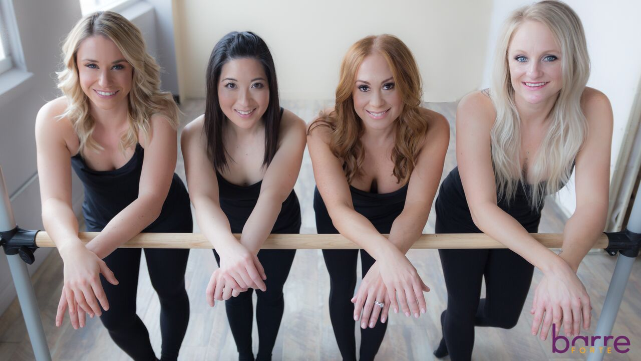 Four women at the barre from Barre Forte