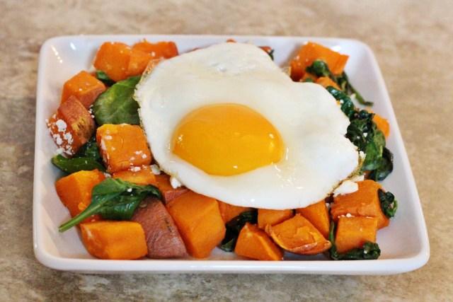 egg and sweet potato hash