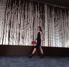 @openingceremony: This amazing wall by #Callebaut was made using 4000 pounds of Belgian chocolate. #OCFW14 #NYFW