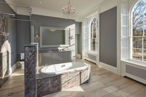 One of the palatial marble bathrooms