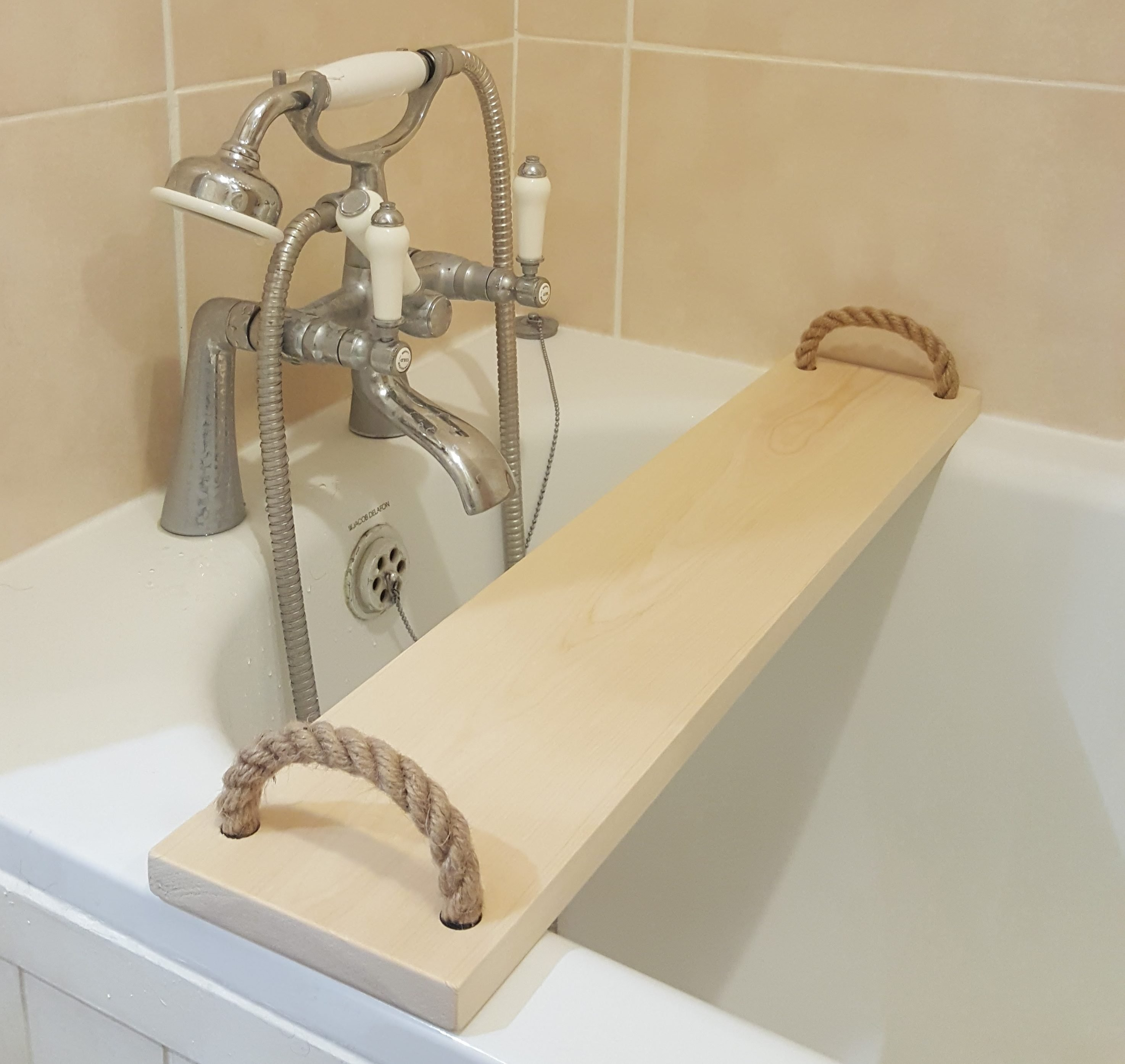 Solid Pine Wood Handmade BathTub Caddy Tray Rack Bath