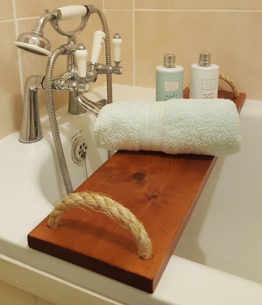 Solid Pine Wood BathTub Rack Bridge Bath Caddy Tray Wooden