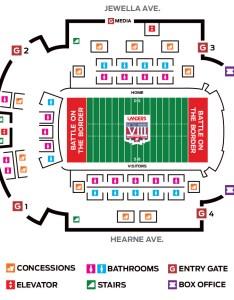 Ground level seating chart also stadium the battle on border rh thebattleontheborder