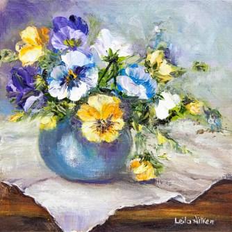 A Pot of Pansies by Leila Aitken