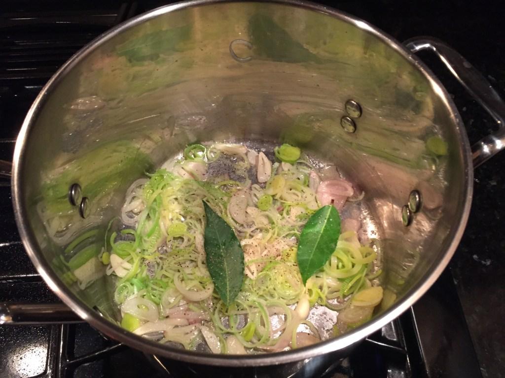 Sautéing the garlic and leeks