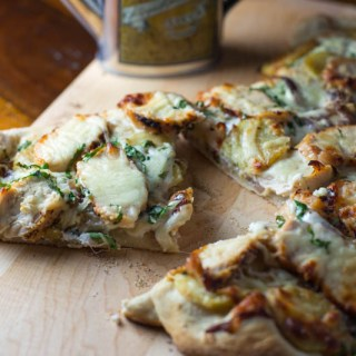 Big Green Egg Chicken Potato White Pizza