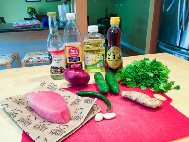 Big Green Egg Thai Chili Ginger Tuna Burgers