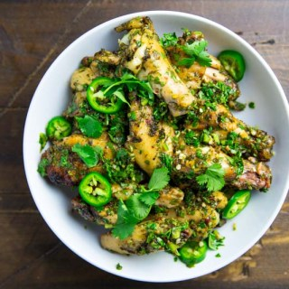 Kamado chimichurri chicken wings