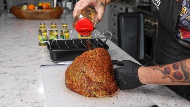 Double Smoked Maple Bourbon Glazed Ham on the Big Green Egg