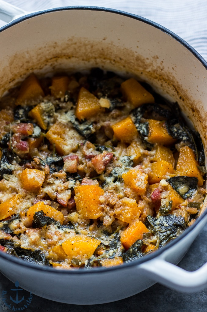 Baked Farro with Butternut Squash, Kale and Pancetta