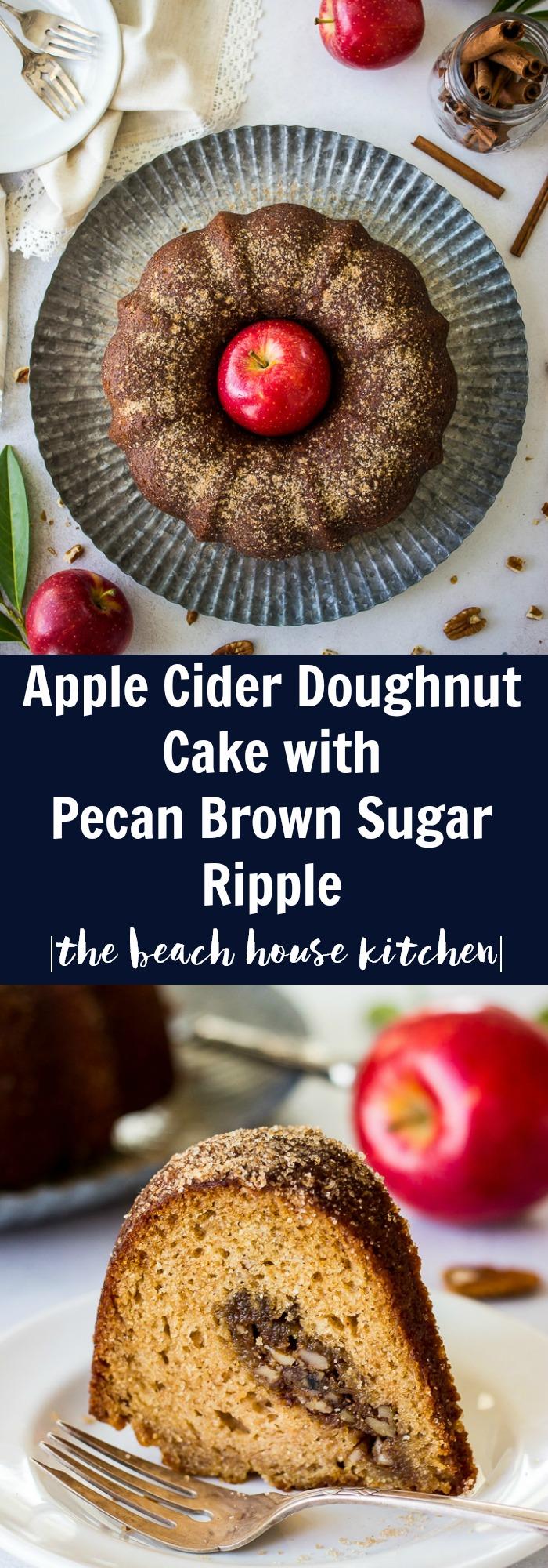 Apple Cider Doughnut Cake with Pecan Brown Sugar Ripple