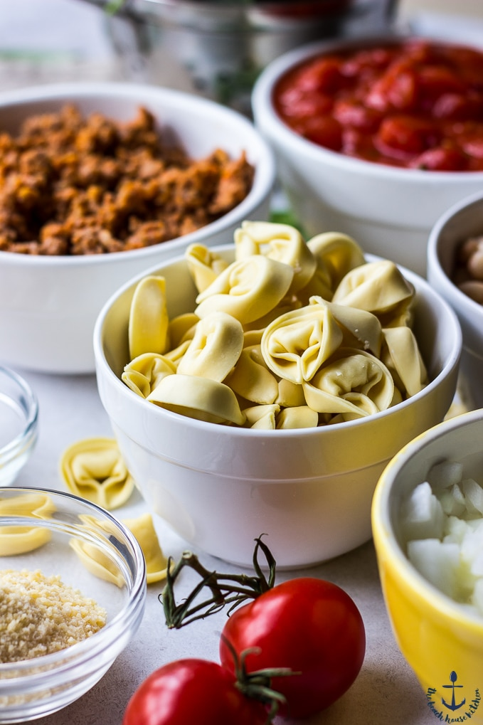 Tortellini sausage, tomatoes and parmesan in bowls with tomatoes on the vine.