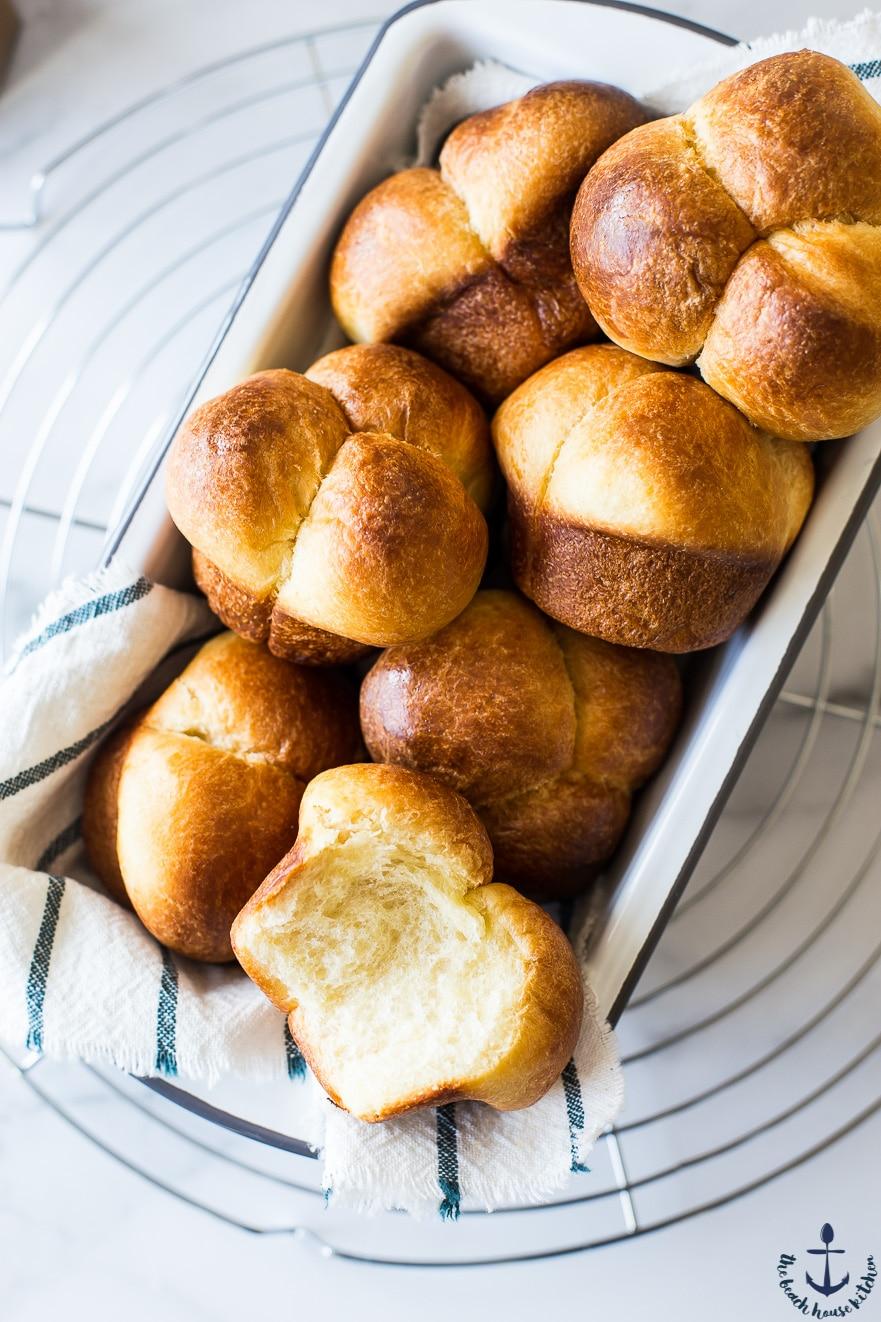 Bubble-Top Brioche Rolls in a loaf pan