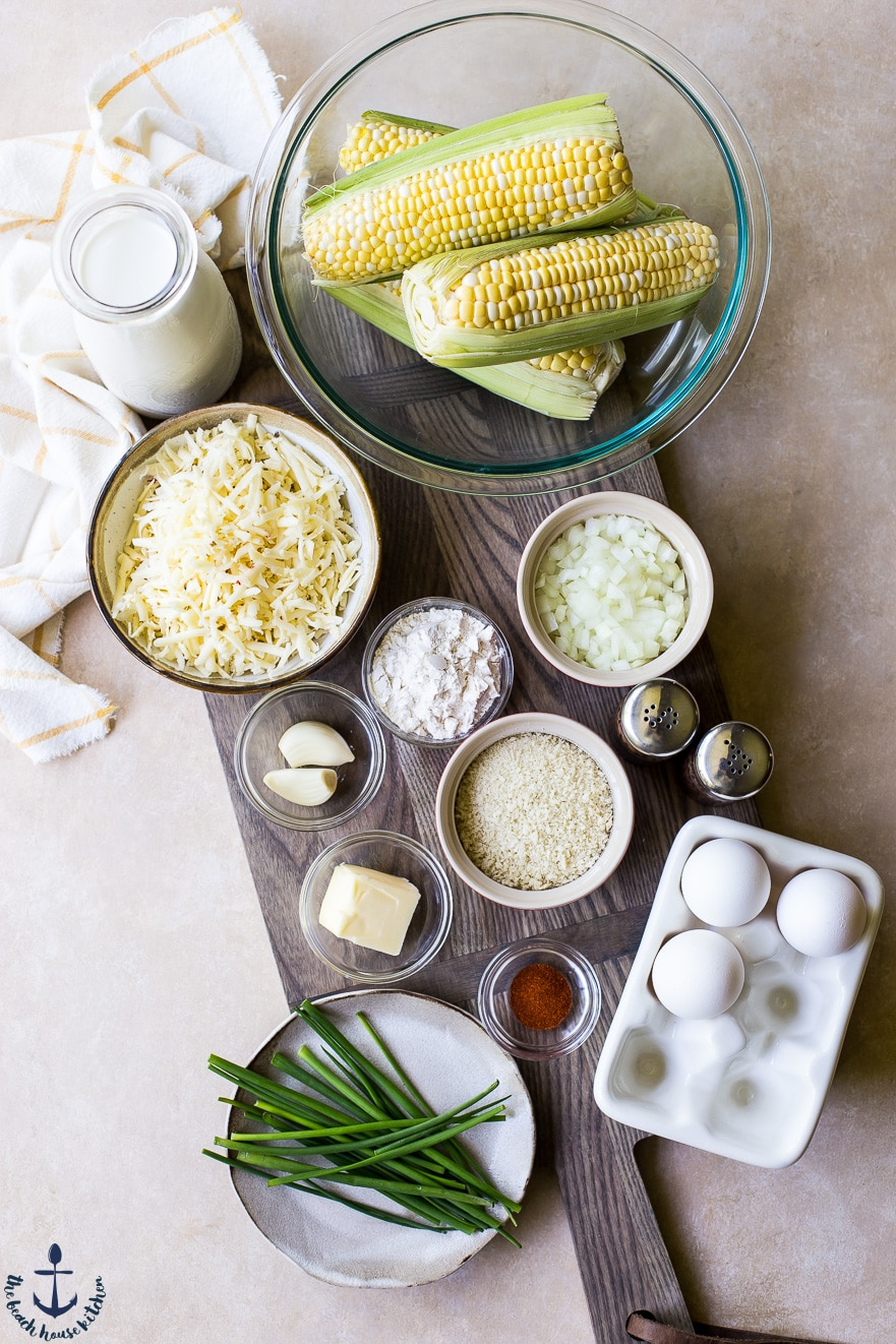 Overhead photo of ingredients for cheesy corn casserole
