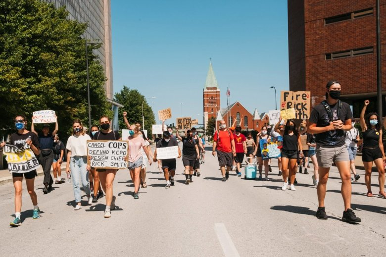 Protesters march in downtown Kansas City, Mo., on July 10, 2020, following the announcement that federal law enforcement officers will be coming to Kansas City as part of a new initiative by the federal Department of Justice to address violent crime. Chase Castor/The Beacon