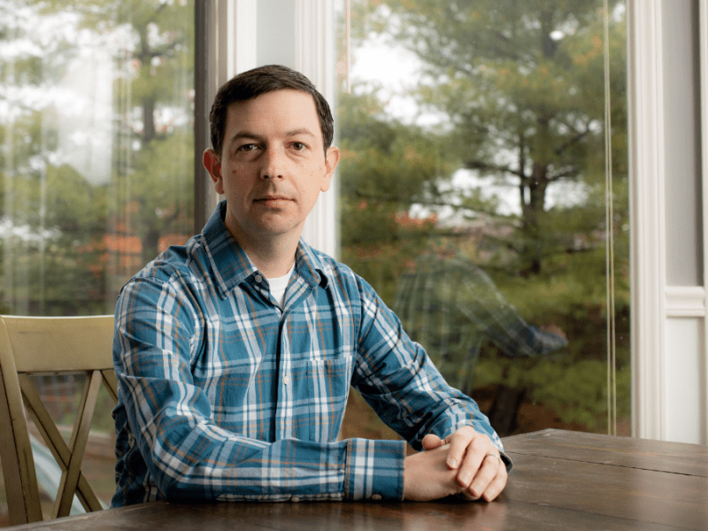 Ryan Hussey, 35, of Overland Park, Kansas, changed his party registration from Republican to Democrat since the 2016 election. (Zach Bauman/The Beacon)