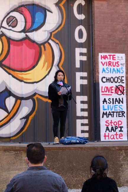 Jackie Nguyen, owner of Vietnamese coffee shop Cafe Cà Phê, spoke about the racism she's experienced as a first generation Vietnamese American during the Stop Asian Hate vigil. (Dominick Williams/The Beacon)