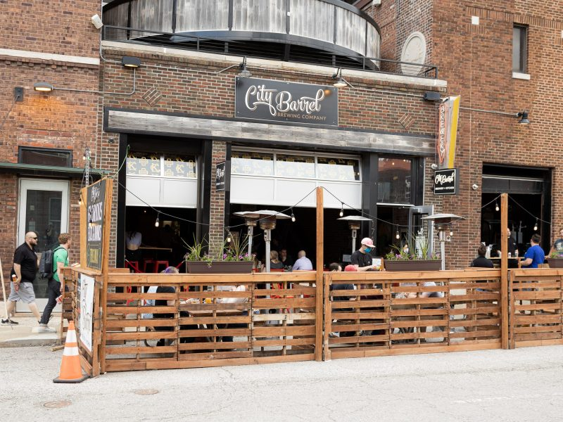 A picture of City Barrel's outdoor dining space.