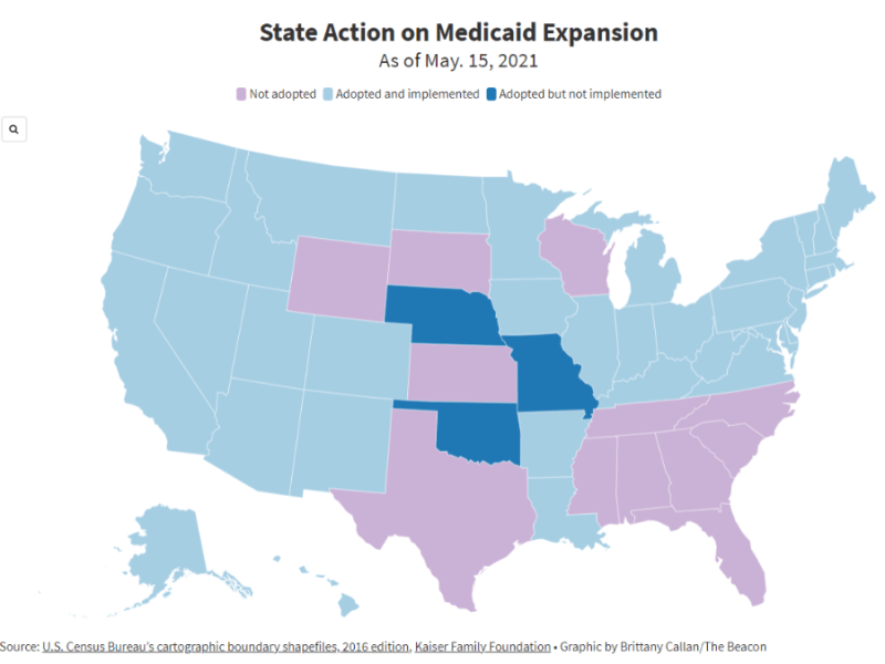A map shows each state's current action on Medicaid expansion.