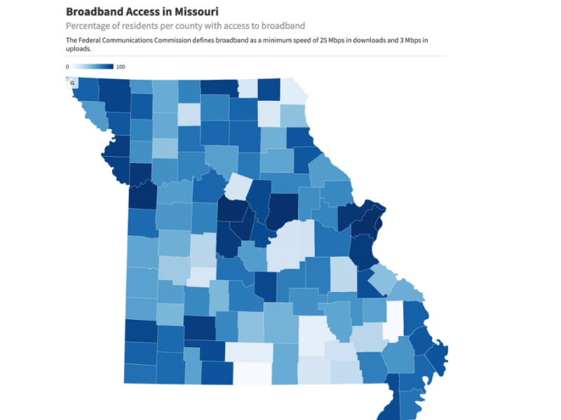 A map showing broadband coverage in Missouri counties.