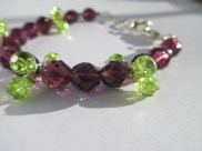 Czech beads and Lime crackle beads