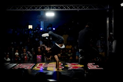 An event participant performs during Red Bull BC One Cypher in Cape Town, South Africa on April 27, 2019.