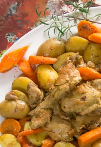 Pressure Cooker pesto chicken with carrots and potatoes - Tender deliciousness that is sure to become a family favorite!