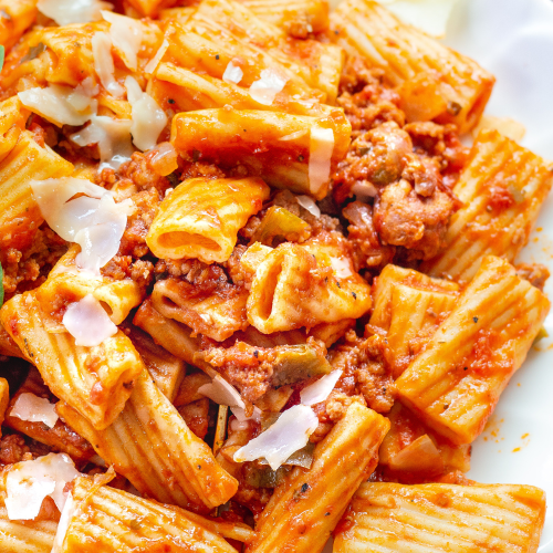 Instant Pot Rigatoni & Sausage - Fast and delicious with fresh herbs, veg and Italian sausage!