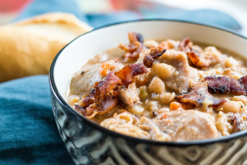 Creamy, comforting white bean and pork stew is so easy!
