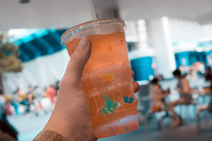Pictured: Sparkling Tapioca Drink with Confetti with Space Mountain in Background