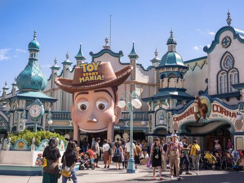 Image of Toy Story Mania attraction during the day with people walking past