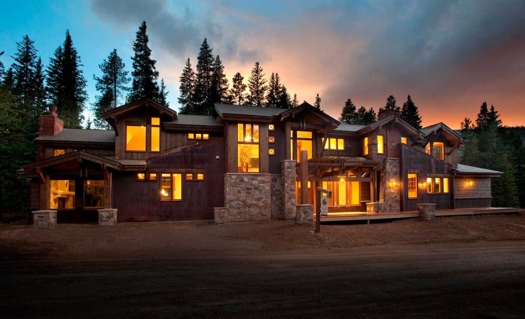 mountain view new custom home sunset