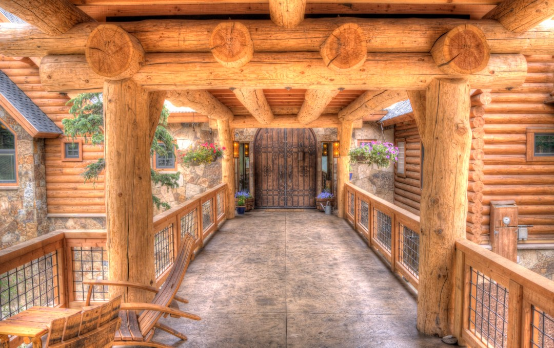 wooden entryway mountain home