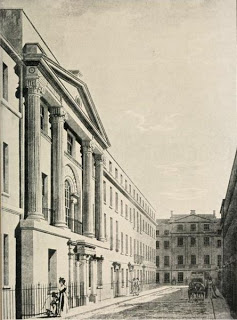 Period engraving of the facade of the Adelphi Hotel