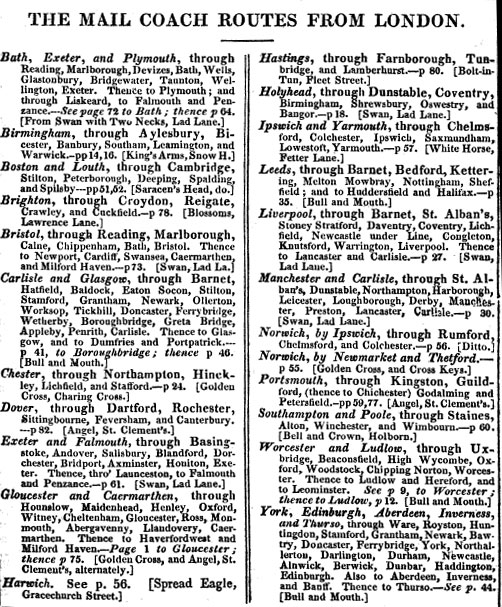 Page from a book listing the regular mail coach routes.