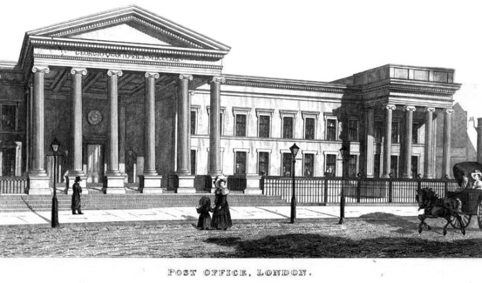 Engraving of the main London post office building