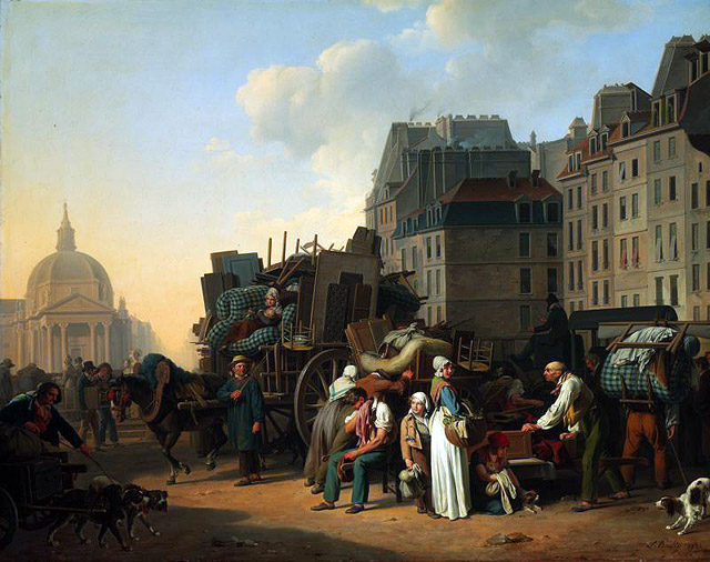 Regency street scene with people loading wagons with furniture