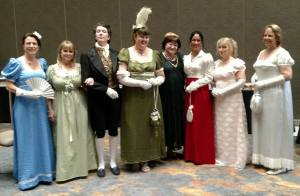 Photo of 8 people in Regency costume at the 2016 Beau Monde Soirée.