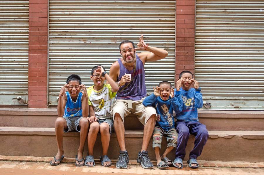 Our young tour guides in Bhaktapur, Nepal.