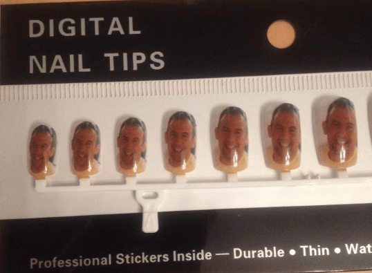 or you can print your own image onto a set of nails, or even your own nail