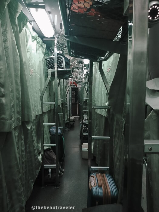 The aisle of the second-class train from Bangkok to Hat Yai.