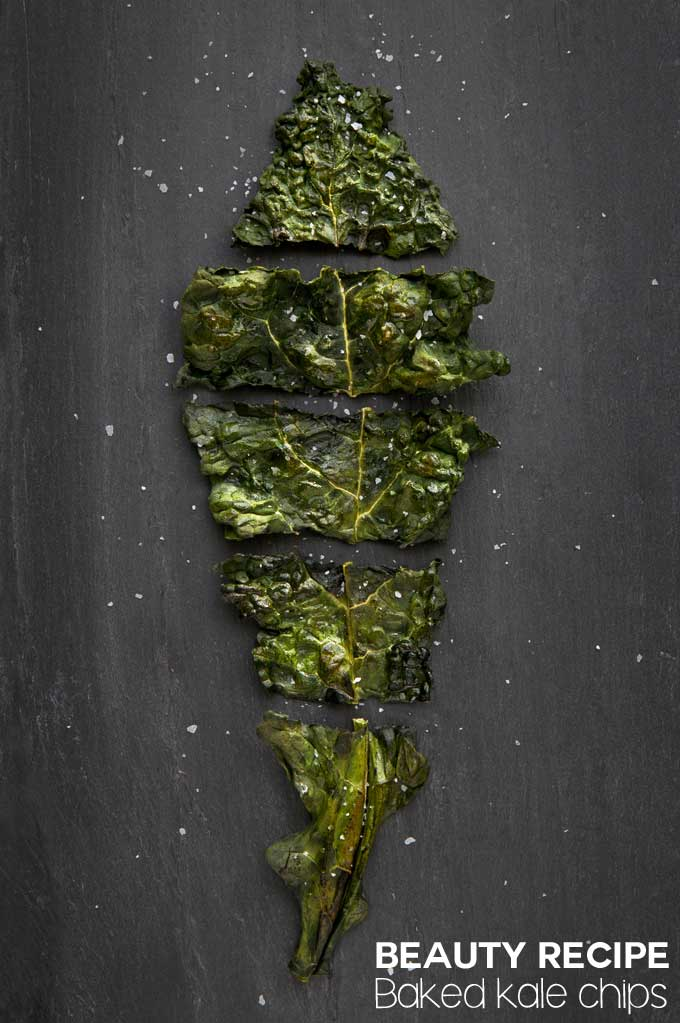 beauty food baked kale chips