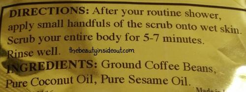Skin Yoga Coffee Body Scrub Usage and Ingredients