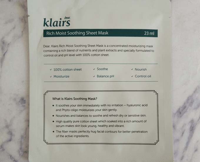 Klairs Rich Moist Soothing Sheet Mask