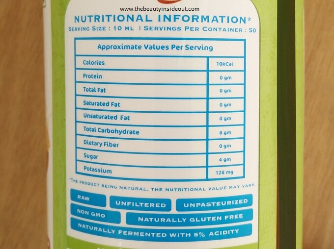 Mamaearth Organic Apple Cidar Vinegar - Nutritional Value